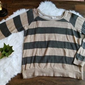 XXI Beige and Black Striped Sweater Small Casual